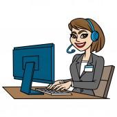 Customer Service - A cartoon illustration of a Customer Service concept
