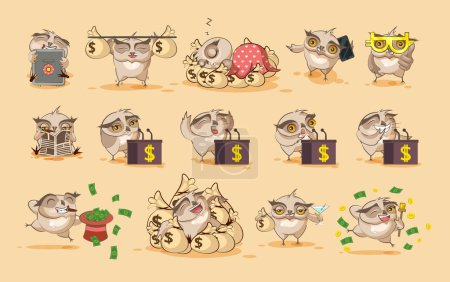 Illustration for Set Vector kit Illustrations isolated money economy business cryptocurrency Bitcoin earnings income benefit profit Emoji character cartoon Owl eagle-owl Owlet howlet stickers emoticons dollar salary. - Royalty Free Image