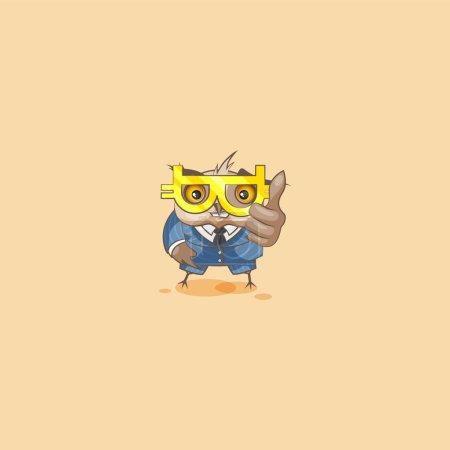 Illustration pour Vecteur isolé personnage Emoji dessin animé heureux richesse hibou eagle-owl Owlet Howlet en costume d'affaires pouces vers le haut autocollant émoticône lunettes crypto-monnaie Bitcoin argent profit dollar gagner . - image libre de droit