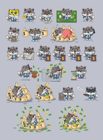 Illustration for Set kit collection Vector Illustrations isolated money economy cryptocurrency Bitcoin earnings income benefit profit Emoji character cartoon wolf cub predator pup in business suit stickers emoticons. - Royalty Free Image