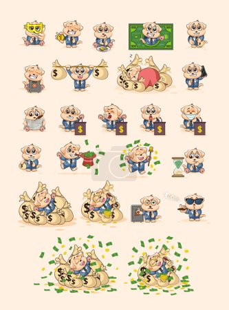 Illustration for Set kit collection Vector Illustrations isolated money economy cryptocurrency Bitcoin earnings income benefit profit Emoji character cartoon dog cub puppy pup in business suit stickers emoticons. - Royalty Free Image
