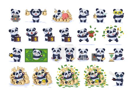 Illustration for Set kit collection Vector Illustration isolated money economy business cryptocurrency Bitcoin earning income benefit profit Emoji character cartoon panda bamboo bear Chinese symbol sticker emoticon - Royalty Free Image