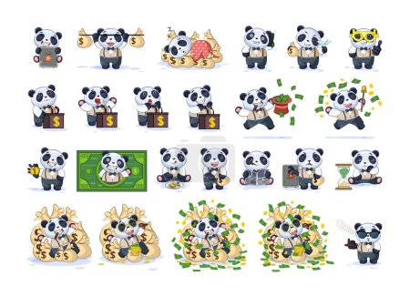 Illustration for Set kit collection Vector isolated money economy cryptocurrency Bitcoin earnings income benefit profit Emoji character cartoon panda cub bamboo bear Chinese symbol in business suit stickers emoticons. - Royalty Free Image