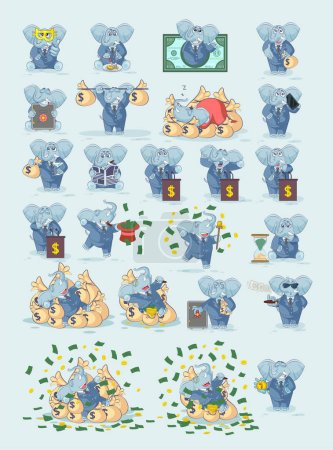 Illustration for Set kit collection Vector Stock Illustrations isolated money economy business cryptocurrency Bitcoin earnings income benefit profit Emoji character cartoon elephant stickers emoticons for site - Royalty Free Image
