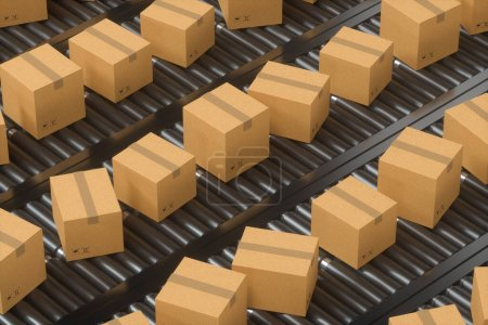 Transport de la boîte à conteneurs sur la bande transporteuse, rendu 3d. Dessin numérique informatique.