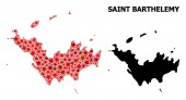 Red Starred Pattern Map of Saint Barthelemy