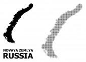 Vector Halftone Mosaic and Solid Map of Novaya Zemlya Islands