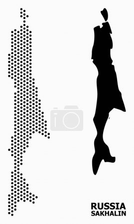 Illustration for Pixelated map of Sakhalin Island composition and solid illustration. Vector map of Sakhalin Island composition of spheric spots with honeycomb geometric pattern on a white background. - Royalty Free Image