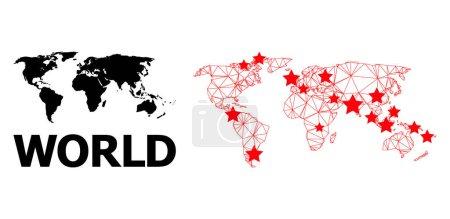 Illustration pour Carcasse carte polygonale et solide du monde. La structure vectorielle est créée à partir de la carte du monde avec des étoiles rouges. Des lignes abstraites et des étoiles forment une carte du monde. Cadre métallique maille polygonale 2D au format vectoriel. - image libre de droit
