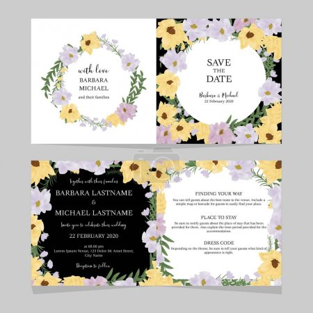 Illustration for Floral folded wedding invitation card template with yellow and purple flower bouquet - Royalty Free Image
