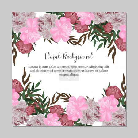 Illustration for Peony bouquet floral background for multi purpose banner - Royalty Free Image