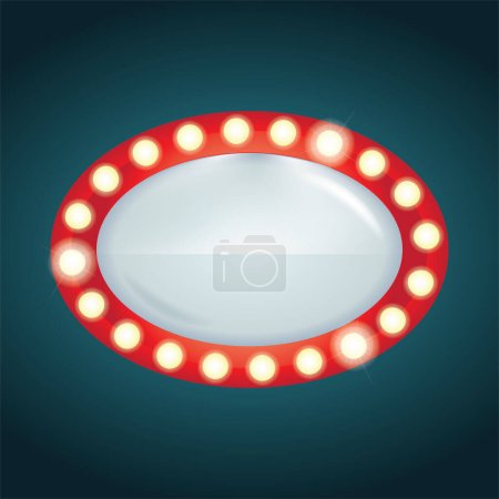 Illustration for Signboard. Retro style signboard. Signboard with light bulbs. Part of set. - Royalty Free Image