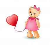 Female Teddy Bear with Balloon Vector Illustration