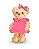 Modest Female Teddy Bear Vector Illustration