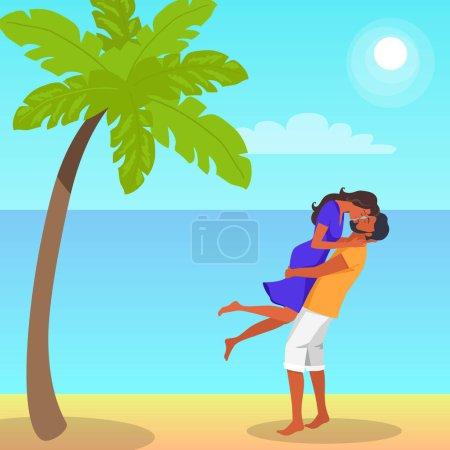 Mężczyzna podnosi jego dziewczyna i całuje ilustracja