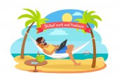 Distant Work and Freelance Vector Man on Hammock