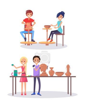 Illustration pour Les élèves des écoles d'art dans la classe illustration vectorielle isolée. Adolescents assis à la roue du potier, garçon heureux faisant sculpture et fille travaillant sur chat artificiel - image libre de droit