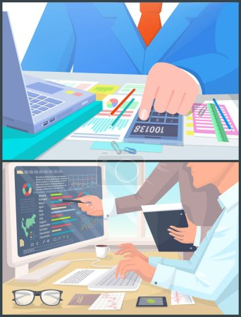 Illustration for Business people work on computer and calculate profit. Graphics in wide screen, simple small calculator with numbers cartoon vector illustrations set. - Royalty Free Image