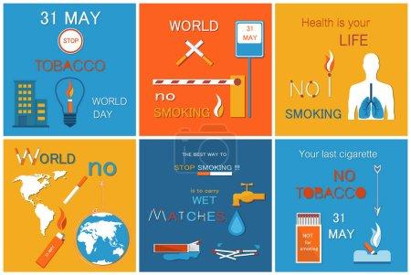 Illustration pour Monde que sans affiches de jour de tabac serties de devise. Interdit les signes découlant de sensibilisation pour arrêter le tabagisme, humaines des poumons endommagés. La santé est votre concept de vie, vecteur - image libre de droit