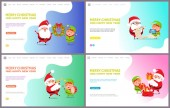 Merry Christmas Greeting Card Santa Claus and Elf