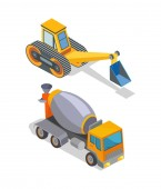 Cement Mixer and Excavator Industrial Machinery