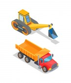 Excavator and Truck with Empty Loading Container