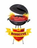 Hot Barbecue Party and Grid Vector Illustration