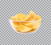 Chips in Glass Bowl Snack to Beer Fast Food Meal