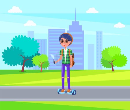 Illustration for Girl in glasses riding on personal transporter in green city park with trees and houses. Autonomous scooter two-wheeled self-balancing transport - Royalty Free Image