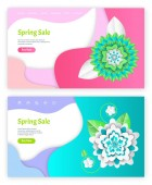 Spring Sale Shopping Service with Origami Vector