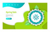 Spring Sale Web Page Decorated by Flower Vector