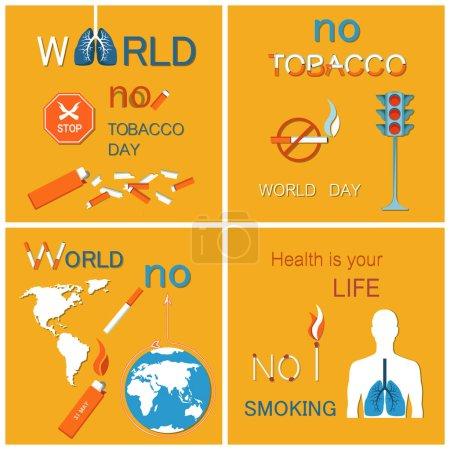 Illustration pour Monde que sans affiches de jour de tabac serties de globe. Interdit les signes découlant de sensibilisation pour arrêter le tabagisme, humaines des poumons endommagés. La santé est votre concept de vie, vecteur - image libre de droit