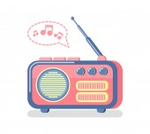 Radio and Playing Music Notes and Waves Icon