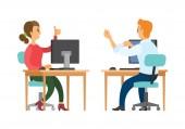 Coworkers Talking at Work Woman and Man at Job