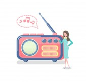 Radio with Antenna Woman Listening to Device