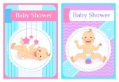 Baby Shower Greeting Cards Child Sits and Lays