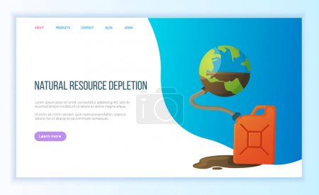 Illustration for Natural resource depletion, pumping out in tank, exhaustion of planet, environmental problem. Earth resource and supply, global danger vector. Blue website or landing page flat style for Earth day - Royalty Free Image