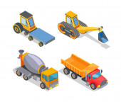 Construction Machines Icons Working Devices Set