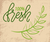 100 Fresh Green Logo with Tree Branch on Grunge
