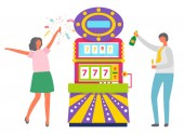 People Celebrating Slot Machine in Casino Vector