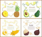 Pineapple and Avocado Posters Vector Illustration