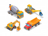 Excavator and Cement Mixer Industrial Machinery