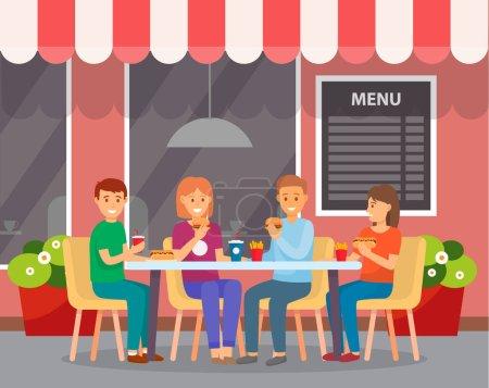 Gruppe von Freunden sitzt in einem Fast-Food-Café im Freien und isst Burger, Hot Dogs, Pommes frites, Limo