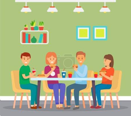 Glückliche Freunde essen Fast Food, sitzen im Café drinnen, Burger, Pommes, Limo, Hot Dog