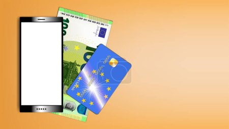 Illustration for Poster smartphone with white screen and paper money. Banknote of the European Union with a par value of 100 euros and bank card with shadows EPS 10 - Royalty Free Image