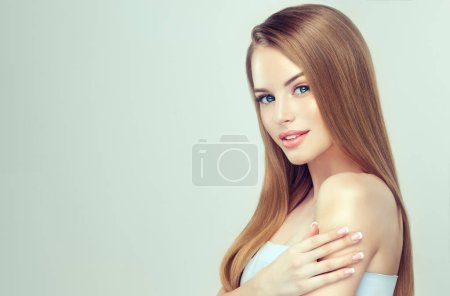 Photo for Beautiful young woman with clean fresh skin,. Close up portrait. Cosmetic, cosmetology and skin care - Royalty Free Image
