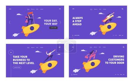 People Riding Golden Rockets in Sky Website Landing Page Set. Business Leadership, Start Up Creative Idea Launch, Project Development, Business Goals Web Page. Cartoon Flat Vector Illustration, Banner