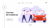 Business Car Sharing Service Website Landing Page Auto Rental Test Drive or Carpool Businessman Dealer Give Key to Driver Selling Rent Automobile Web Page Banner Cartoon Flat Vector Illustration