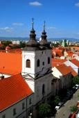 The panorama view of Trnava historical center, Slovakia