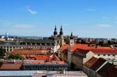 The panorama view of Trnava historical center with the Saint Nicolas church, Slovakia